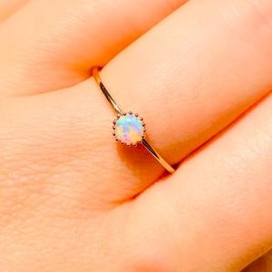 New delicate rose gold plated opal ring